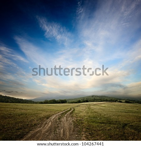 dirt road at the summer dramatic day #104267441