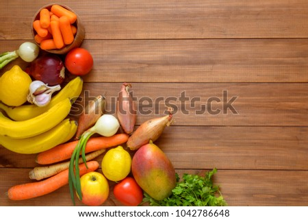 Fresh vegetables and fruits background. Top view, Copy space. #1042786648