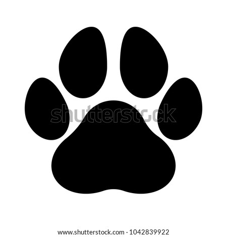 Black silhouette of a paw print, isolated. Royalty-Free Stock Photo #1042839922