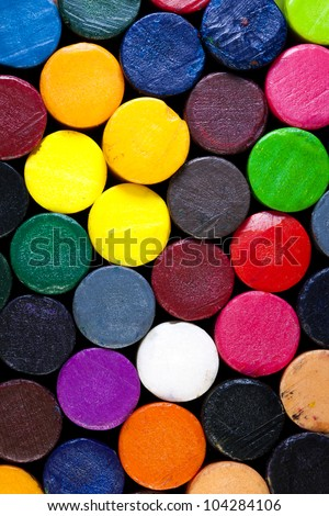 Colorful pattern of a pile of crayons. #104284106