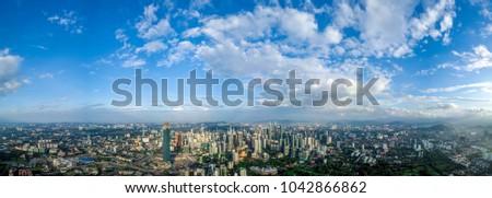 Kuala Lumpur, Malaysia - 10/3/2018 : Beautiful aerial view of Kuala Lumpur, the capital city of Malaysia during sunrise #1042866862