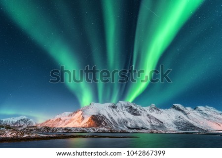 Aurora borealis. Lofoten islands, Norway. Aurora. Green northern lights. Starry sky with polar lights. Night winter landscape with aurora, sea with sky reflection and snowy mountains.Nature background #1042867399