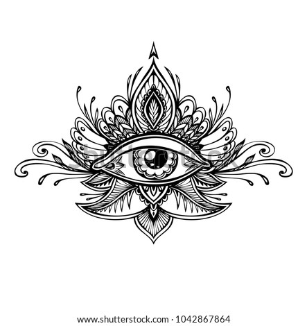 Abstract symbol of All-seeing Eye in Boho Indian Asian Ethno  style for tattoo black on white for decoration T-shirt or for coloring page or adult coloring book. Concept magic occultism esoterics  #1042867864