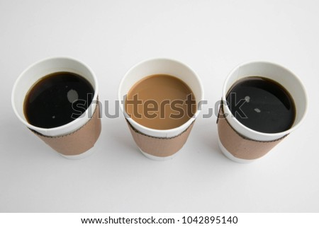 Take-out cups and coffee #1042895140