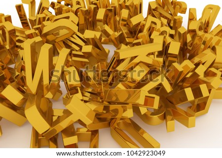 Decorative, illustrations CGI typography, letter of ABC, alphabet. Good for design texture, background. Golden 3D rendering. Abstract, kindergarten, communication & shape. #1042923049