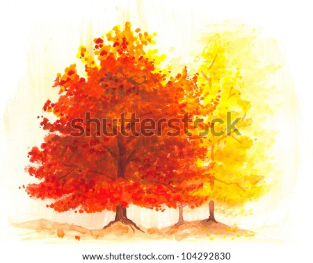 autumn tree watercolor painting, landscape of fall maple tree or oak tree in bright vibrant orange, yellow and red colors for leaves, autumn foliage scenery