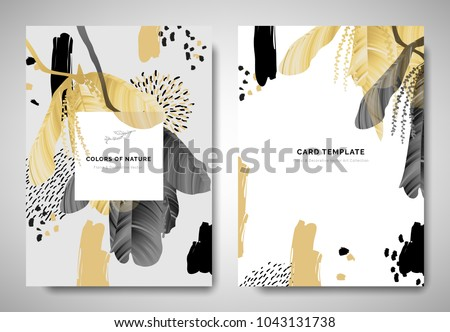 Greenery greeting/invitation card template design, leaves with flowers with hand drawn doodle graphics on grey background, black and golden tones Royalty-Free Stock Photo #1043131738