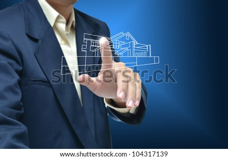 Business artwork of business person on nature background. #104317139