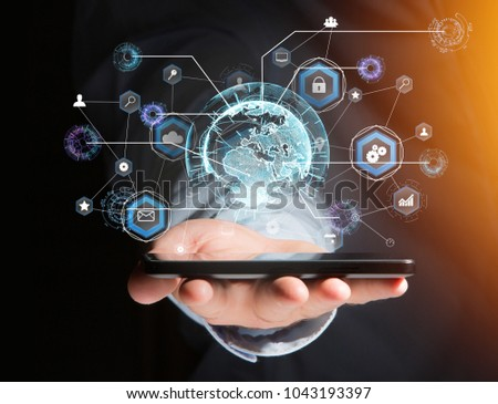 View of an International business network connection displayed on a futuristic interface with technology icon and sphere globe - Worldwide business concept #1043193397