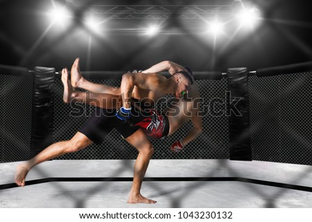 MMA fighters on ring Royalty-Free Stock Photo #1043230132