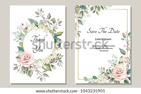 Set of card with flower rose, leaves. Wedding ornament concept. Floral poster, invite. Vector decorative greeting card or invitation design background Royalty-Free Stock Photo #1043235901