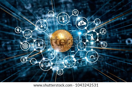 Bitcoin cryptocurrency with icon blockchain network connection on motherboard microcircuit fast speed background #1043242531