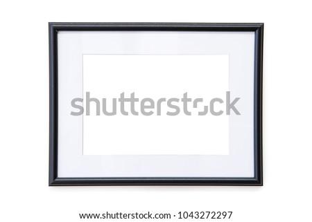Black Photo Frame Mock-Up on a white wall - Landscape