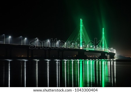 Anita Garibaldi bridge at night. Royalty-Free Stock Photo #1043300404