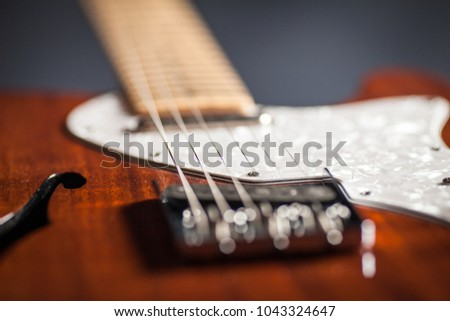 Close up detail of the strings of vintage electric guitar. Musical instrument. Black background with smoke #1043324647