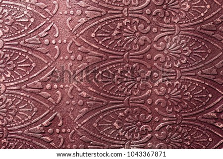 Dark red ornament, wine color background, acrylic painted picture