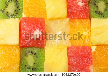 healthy citrus fruit salad background. top view #1043370607