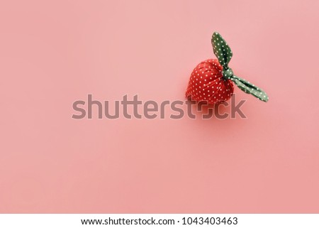 Strawberry handicraft made from cloth on pastel color.summer concept idea #1043403463