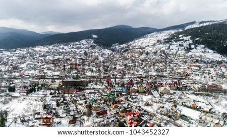 Aerial view of Carpathian mountains in winter, Yaremche, Ukraine. #1043452327