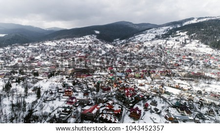 Aerial view of Carpathian mountains in winter, Yaremche, Ukraine. #1043452357