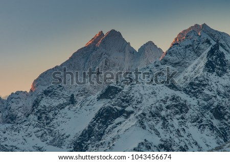 Winter mountain landscape, Rysy and Wysoka peaks in tatra mounta #1043456674