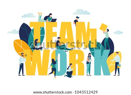Vector business illustration, businessmen together build word teamwork, abstract design graphic, construction business project vector Royalty-Free Stock Photo #1043512429