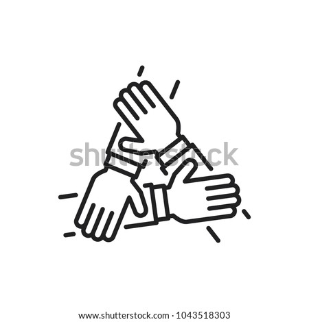 three hands support each other, concept of teamwork, icon vector Royalty-Free Stock Photo #1043518303