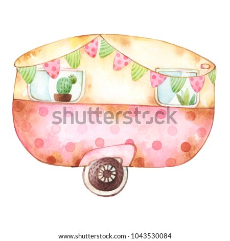 Watercolor clip art of a retro stained yellow and red caravan with two windows with plants decorated with festive colorful bunting and polka dot pattern