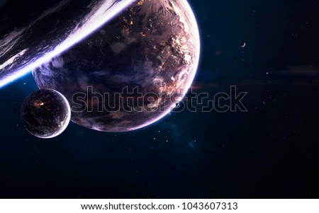 Deep space planets, awesome science fiction wallpaper, cosmic landscape. Elements of this image furnished by NASA #1043607313
