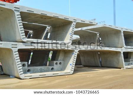 stock box girder, box girder, Bridge construction, segmental bridge box girders ready for construction, segments of long span bridge box girder , Thailand, Province Patumthani, Bangkok,construction #1043726665