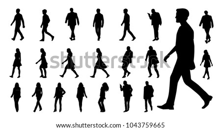 Vector collection of walking people silhouettes Royalty-Free Stock Photo #1043759665