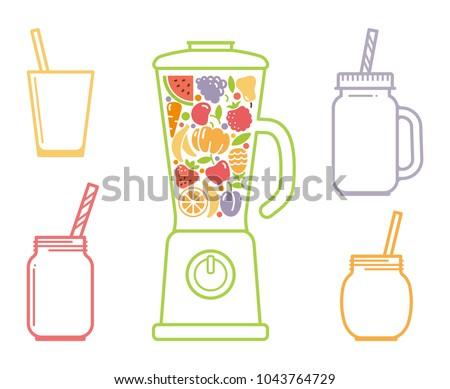Kitchen blender and jars for smoothie vector set