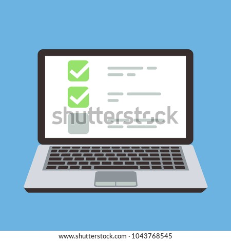 Computer laptop with online quiz form checklist on screen. Choice and survey vector cartoon concept. Illustration of checklist online computer, choice and quiz exam list