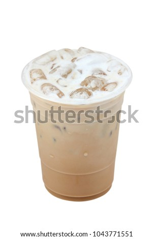 Iced coffee in plastic cup isolated on white background / coffee sweet #1043771551
