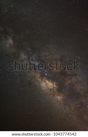Clearly milky way galaxy with stars and space dust in the universe  #1043774542
