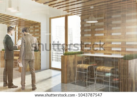 White and wooden wall cafe corner with loft windows and wooden tables and chairs. Flower beds. Two businessmen 3d rendering mock up toned image double exposure #1043787547