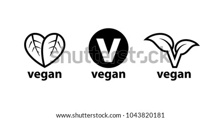 Plant based vegan diet symbols set of 3 label icons. Vector illustration.