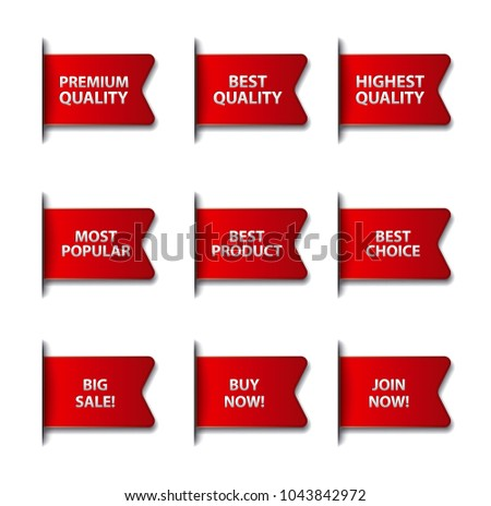 set of different advertising flags and stickers in red color, on white background, sale and discount #1043842972