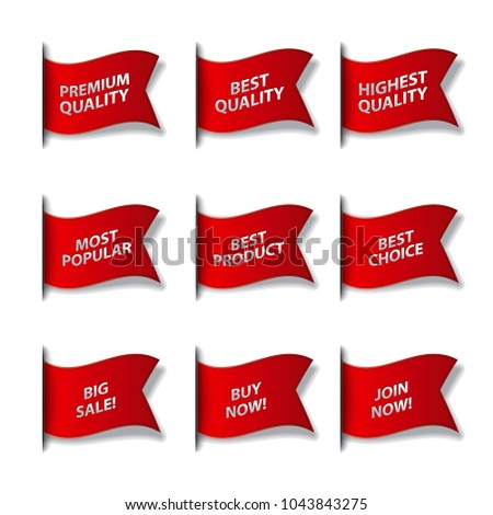 set of different advertising flags and stickers in red color, sale, premium, best and quality #1043843275