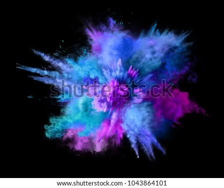 Explosion of blue, aqua and violet dust on black background. Illustration