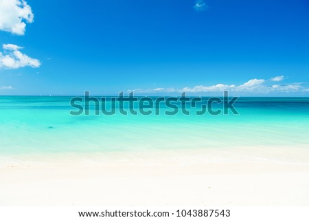 Ocean coast on antigua island in caribbean. Ocean with turquoise water, white sand and sunny blue sky #1043887543