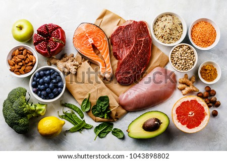 Balanced diet Organic Healthy food Clean eating selection Including Certain Protein Prevents Cancer: fish, meat, fruit, vegetable, cereal, leaf vegetable #1043898802