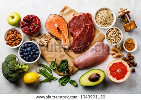 Balanced diet Organic Healthy food Clean eating selection Including Certain Protein Prevents Cancer: fish, meat, fruit, vegetable, cereal, leaf vegetable #1043901130