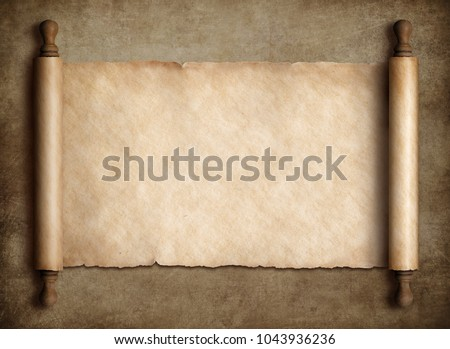 Ancient scroll parchment over old paper background #1043936236