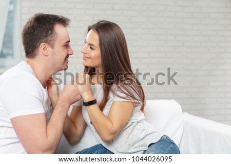 Cheerful young couple in the morning at home #1044026095