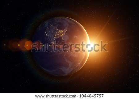 Space, Sun and planet Earth. Western hemisphere. This image elements furnished by NASA.