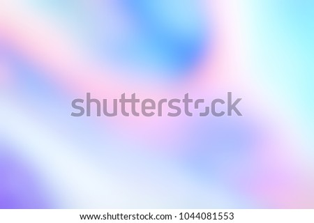 Holographic foil blurred abstract background for trendy design. Holographic sparkly cover with soft pastel colors. #1044081553