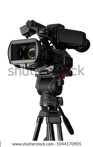Professional video camera set on a tripod  (with excellent clipping path). #1044170905