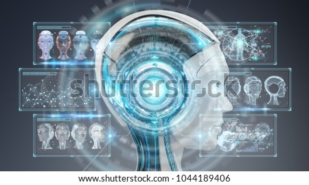 Digital artificial intelligence cyborg interface isolated on grey background 3D rendering #1044189406