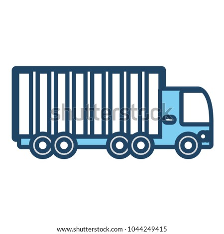 blue  and white truck  vector illustration